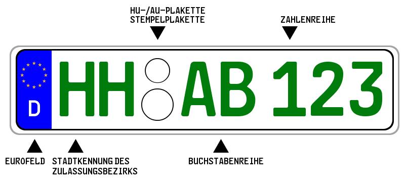 Ein grünes Kennzeichen unterscheidet sich nur in der Schriftfarbe vom regulären Nummernschild.