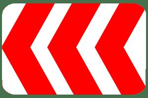 Eine Verkehrseinrichtung hat zumeist die Farben Rot und Weiß.