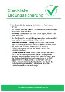 Checkliste zur Ladungssicherung im PKW oder Transporter