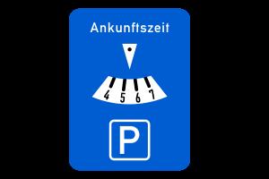 Das Verkehrszeichen Nr. 219 verweist auf die Parkscheibe.