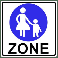 Verkehrszeichen 242.1: Eine Fußgängerzone wird durch dieses ausgewiesen.