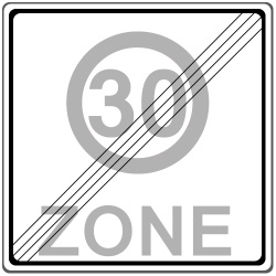 Dieses Schild markiert das Ende der Geschwindigkeitsbegrenzung auf 30 km/h innerorts.