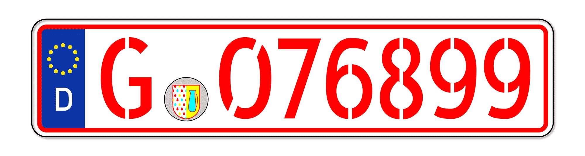 Beispiel eines roten Kennzeichens (Händlerkennzeichen)