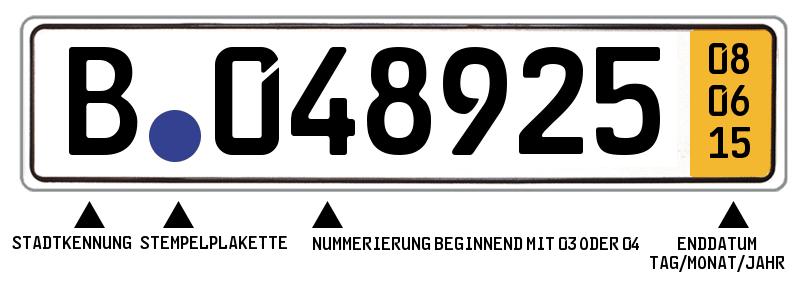 So wird ein Kurzzeitkennzeichen in der Regel aussehen: Rechts außen ist das Ablaufdatum festgehalten.