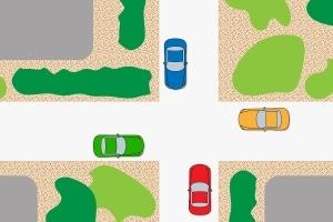 """""""Rechts vor links"""" an der Kreuzung: Bei 4 Autos aus 4 Richtungen müssen sich die Fahrer verständigen."""