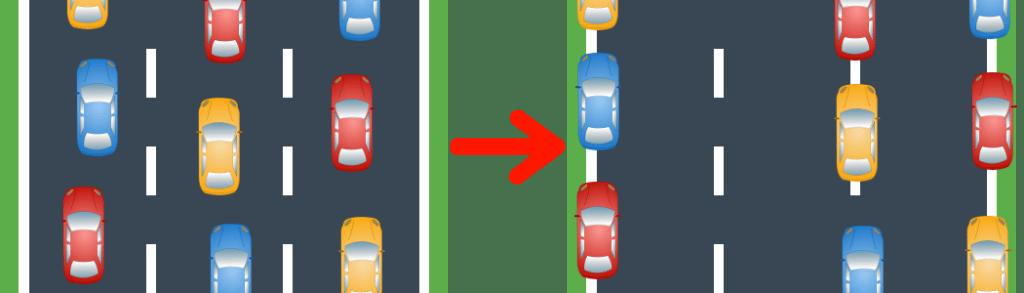 So wird die Rettungsgasse gebildet, wenn die Straße mehrspurig ist.