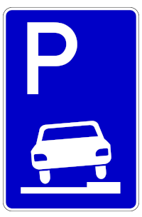 VZ 315: Hier dürfen Sie zur Hälfte auf dem Gehweg parken.