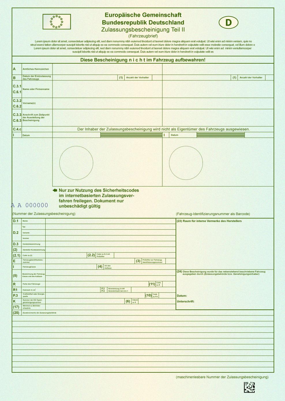 Zulassungsbescheinigung Teil I Und Teil Ii Kennzeichenbox De 15