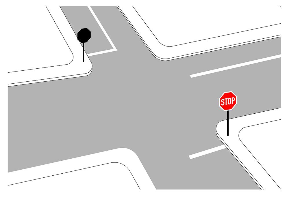 Verkehrszeichen (VZ) 294: Haltlinie als weiße durchgezogene Linie