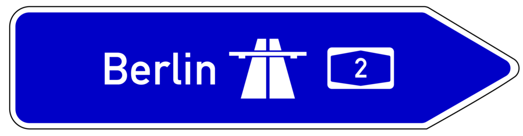 VZ 430: Pfeilwegweiser zur Autobahn