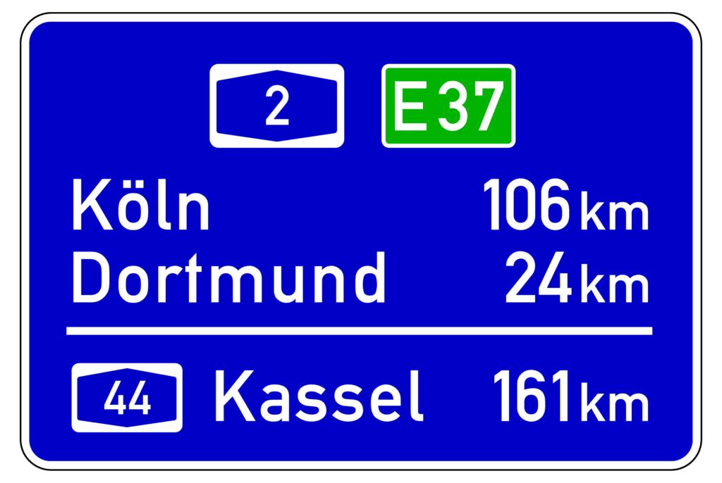 VZ 453: Entfernungstafel